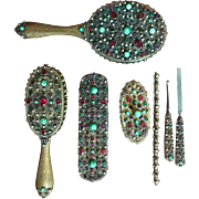 7 Piece Austrian Bronze Metal Jeweled Vanity Dresser Set