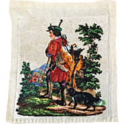 LAST CHANCE!  Antique Beaded Hunting Scene Boy Dog and Pheasant Picture