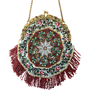 Gorgeous Antique Jeweled Micro Beaded Late 19th Century Pie Shaped Purse