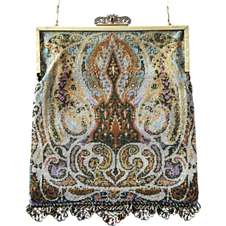 Exquisite Sterling Microbeaded Rug Pattern Geometric Purse Rare Fringe