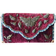 LAST CHANCE!  Antique Chinese Peranakan Butterfly or Moth Pocketbook Purse