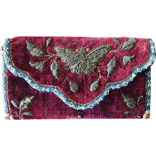 Antique Chinese Peranakan Butterfly or Moth Pocketbook Purse