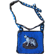 LAST CHANCE!  Antique Beaded Kitty Cat Child's Purse with Belt