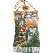 Vintage Night Time Scenic Castle Beaded Purse Enamel Jeweled Frame