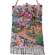 Micro Beaded Scenic Diagonal Town Scene Purse Jeweled Enamel Frame