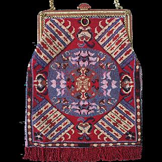Vintage Enamel Frame Vibrant Beaded Purse Rug Pattern