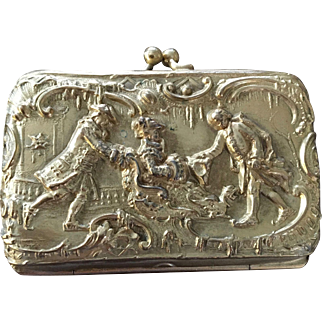 TO BE REMOVED 1-31-18  LAST CHANCE! Victorian Coin Purse Figural Gentleman Lady Sleigh Scene Doll Size