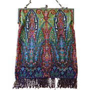 Micro Beaded Sterling Frame Geometric Rug Purse