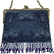 To Be Removed 1-31-18!  LAST CHANCE!  Antique Art Nouveau Sterling Beaded Purse Sapphire Midnight and Powder Blue