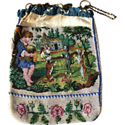 Antique Spaniel Dog Butterfly Bagpipe Player Dancing Dogs 19th Century Beaded Purse