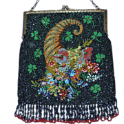 Vintage Horn of Plenty Beaded Purse Original=