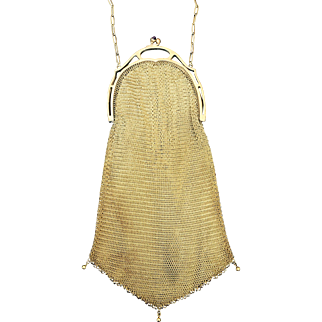 Unusual Frame Gold Tone Mesh Purse with Dangles
