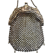 REDUCED!  Antique Indian Motif German Silver Mesh Purse Dangles