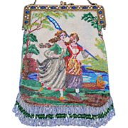 Vintage Figural Beaded Butterfly Catchers Women Purse Jeweled Frame