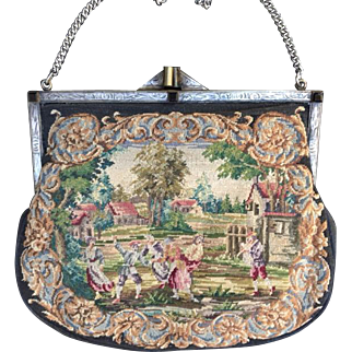 Vintage Sterling Silver Frame Micro Petit Point Purse