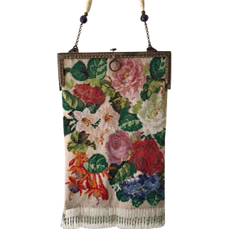 Beautiful c. 1920's Bountiful Flowers Beaded Purse Two Different Patterns