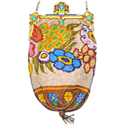 LAST CHANCE! Soon to be Removed! Stunning Stylized Flowers Deco Purse Stand-up Enamel Jeweled Frame
