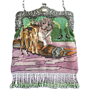 Rare Micro Beaded Figural Purse Cats and Dogs