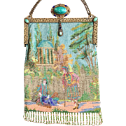 Micro Beaded Figural Purse Jeweled Frame