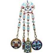 Antique French Champleve Enamel Chatelaine Four Piece