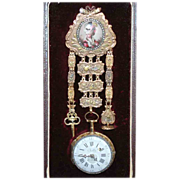 Antique French18 Carat Gold Enamel Portrait Chatelaine with Chailly Watch