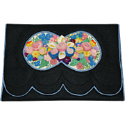 Art Deco Three Dimensional Felt Silk Embroidered Purse