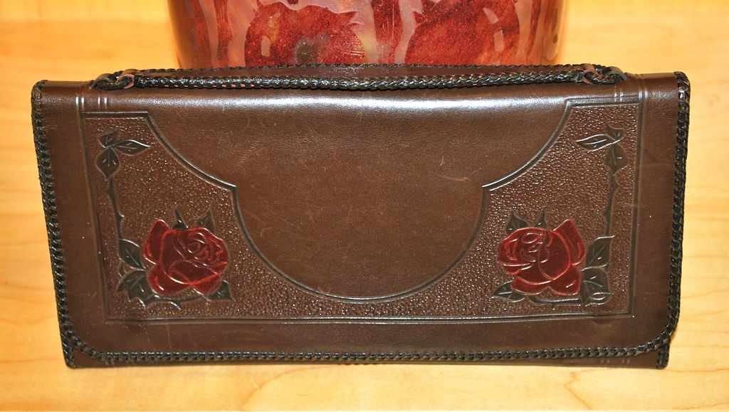 Vintage Tooled Leather Rose Motif Clutch Purse