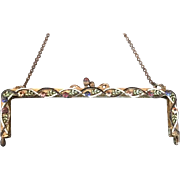 Jeweled Enamel Vintage Purse Frame Handbag Ready