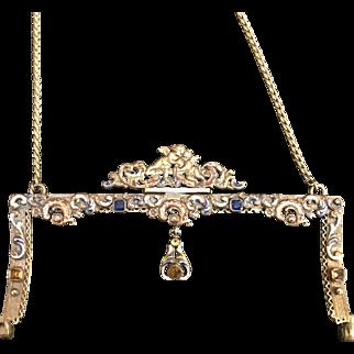 Vintage Jeweled Frame Enamel Cherubs