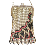 LAST CHANCE! Wildly Deco Marked Whiting and Davis Enamel Mesh Purse