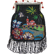Vintage Beaded Moorish Egyptian Palm Trees Purse