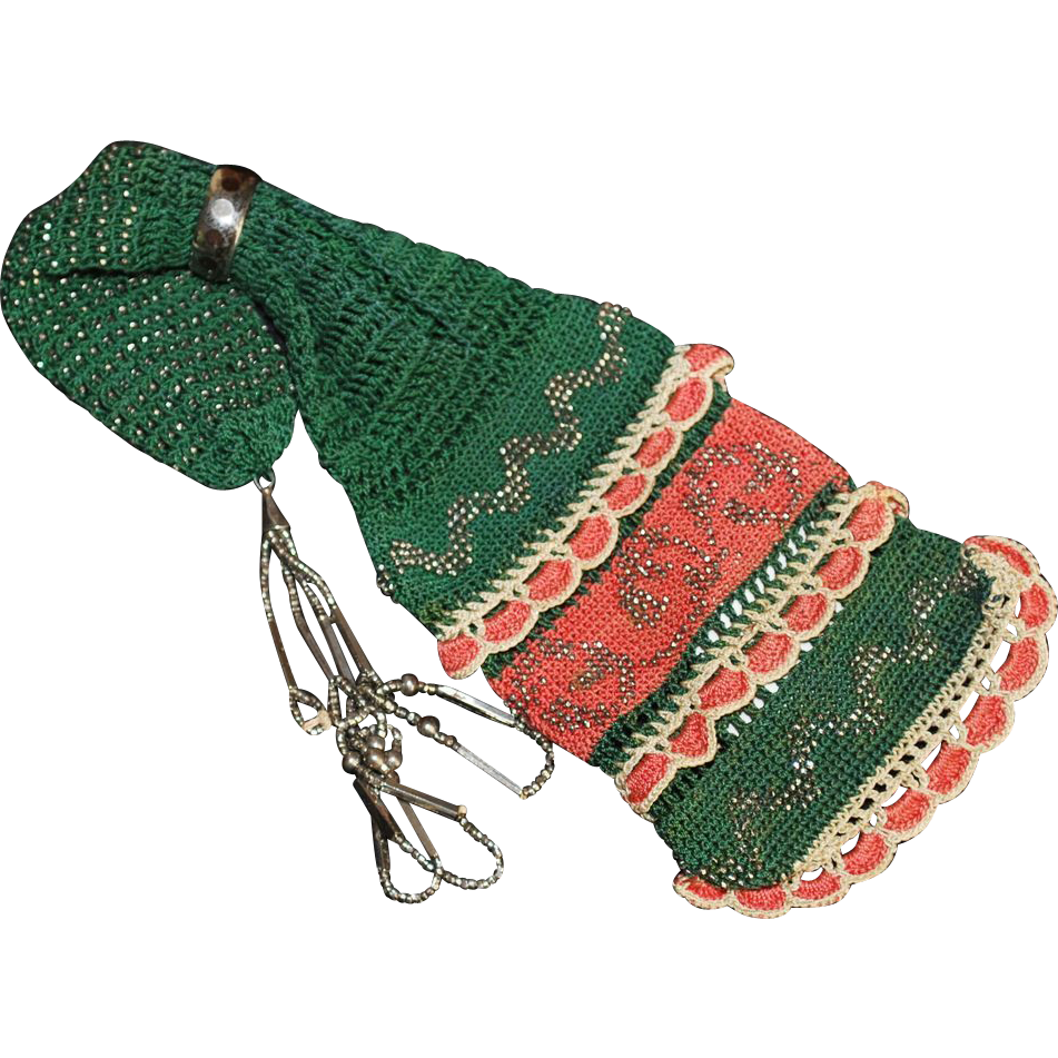 Crochet Miser Bag Pattern : LAST CHANCE! Antique 19th Century Miser Purse Crochet Bag ...