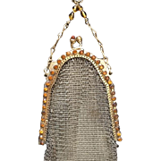 LAST CHANCE TO BE REMOVED 3-31 -Dazzling Marked Whiting and Davis Amber Stone Frame Mesh Purse