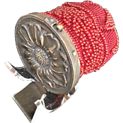 LAST CHANCE - TO BE REMOVED 10-31-16 Antique Sunflower Red Beaded Coin Purse