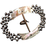 Victorian Cut Steel Mother of Pearl Sash Buckle Pin