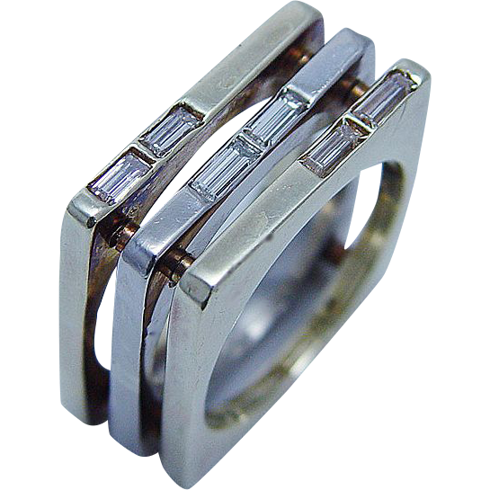 Heavy 19.5gr 14K Gold Diamond Square Ring OOAK LAYAWAY is available