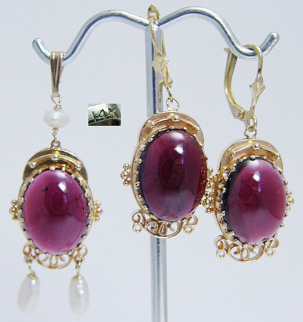 Vintage 14K Gold Tourmaline cabochon Earrings Pendant Set LAYAWAY is available