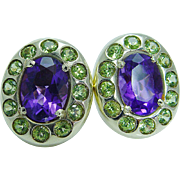14K Yellow Gold Peridot Amethyst Earrings Estate Jewelry