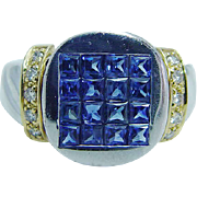 Estate Jewelry 18K Gold Invisible Set Sapphire Diamond Ring LAYAWAY and VIDEO available