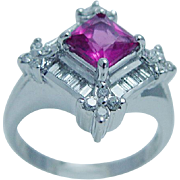 Estate Jewelry 14K White Gold Rubellite Tourmaline Diamond Ring LAYAWAY is available