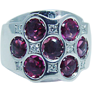 Designer Signed Jewelry 18K White Gold Tourmaline doubled setting BIBIGI Ring