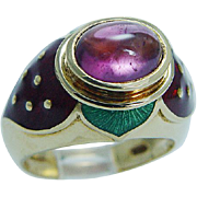 Designer Jewelry Mavito 18K Gold Rubellite Tourmaline Enamel Strawberry Ring