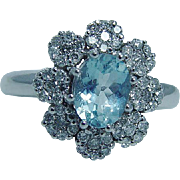 Estate Designer Signed Jewelry 14K White Gold EffY 1.1ct Aquamarine .84 Diamond Ring