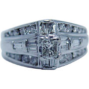 Engagement Jewelry 14K White Gold Princess Round Baguette 1.05ct Diamonds Ring