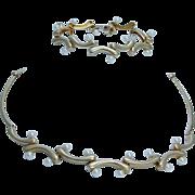 Designer Jewelry Akiyo Matsuoka Art to Wear 18K Gold Akoya Pearl Necklace Bracelet Set