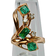 Vintage Apco 14K Rose Pink Gold Colombian Emerald Diamond Ring Appraisal $3250