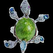 Art to Wear 14K Gold Green Blue Enamel Turtle Ring Diamonds Ruby Topaz Unique