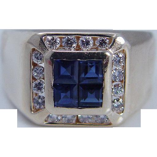 estate jewelry 14k yellow gold sapphire mens ring