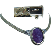 Unique 14K Yellow Gold Genuine Amethyst Cameo Diamonds Slide Chain Necklace