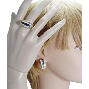 Estate Jewelry 14K Gold Sapphire 1.28cts Diamond Earrings Ring Set 20.4gr